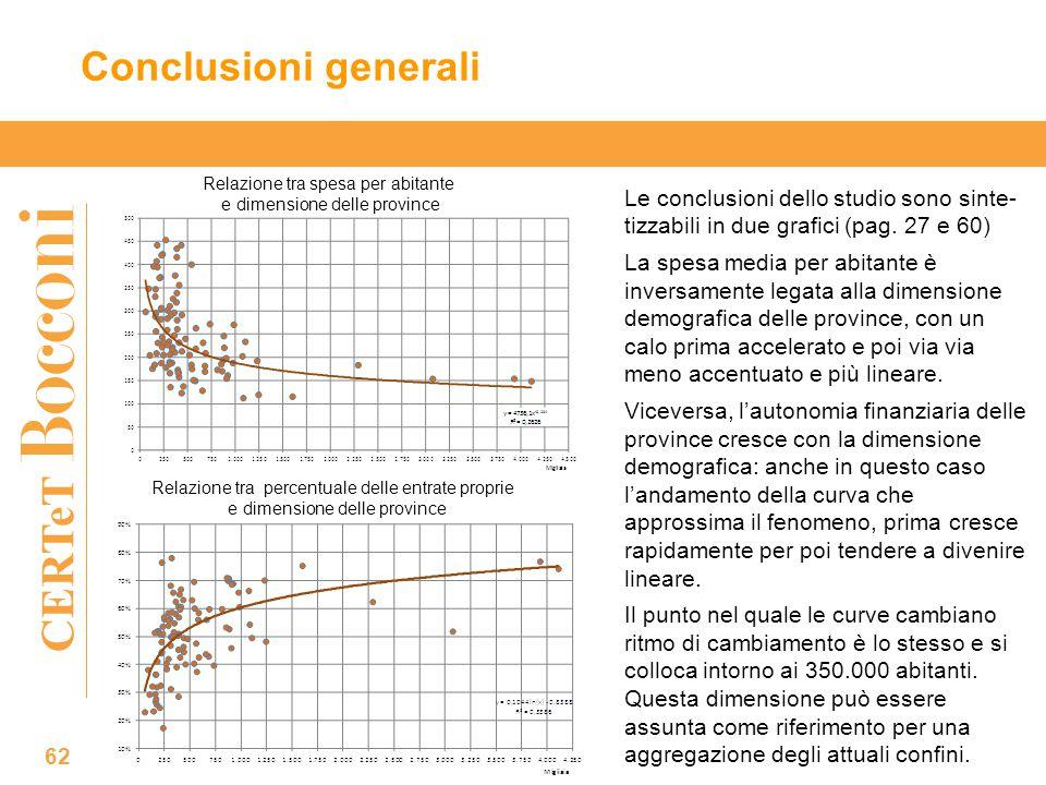 CERTeT Conclusioni generali 62 Le conclusioni dello studio sono sinte- tizzabili in due grafici (pag.