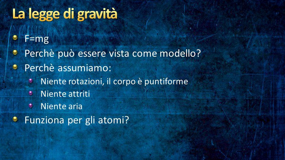 F=mg Perchè può essere vista come modello? Perchè assumiamo: Niente rotazioni, il corpo è puntiforme Niente attriti Niente aria Funziona per gli atomi