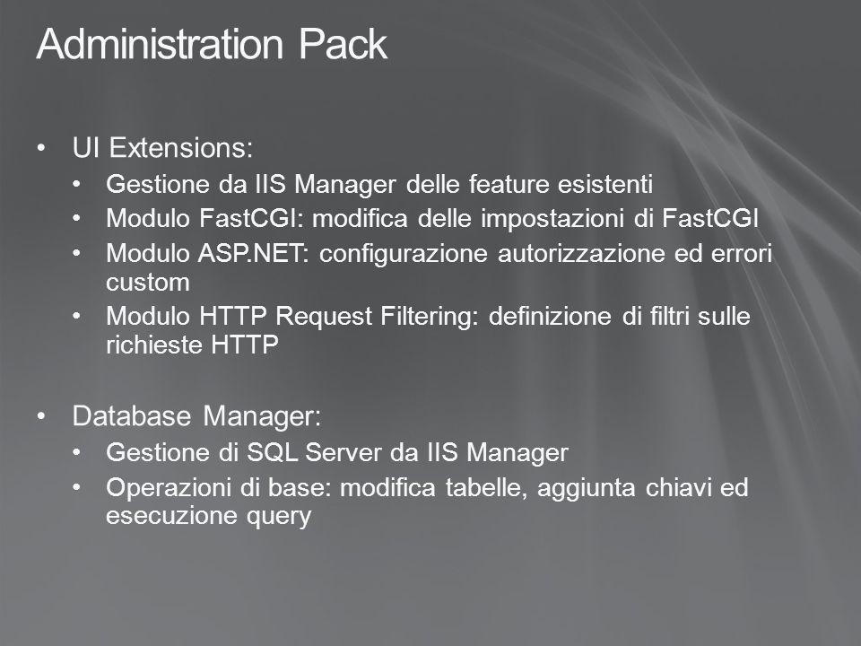 Administration Pack UI Extensions: Gestione da IIS Manager delle feature esistenti Modulo FastCGI: modifica delle impostazioni di FastCGI Modulo ASP.NET: configurazione autorizzazione ed errori custom Modulo HTTP Request Filtering: definizione di filtri sulle richieste HTTP Database Manager: Gestione di SQL Server da IIS Manager Operazioni di base: modifica tabelle, aggiunta chiavi ed esecuzione query