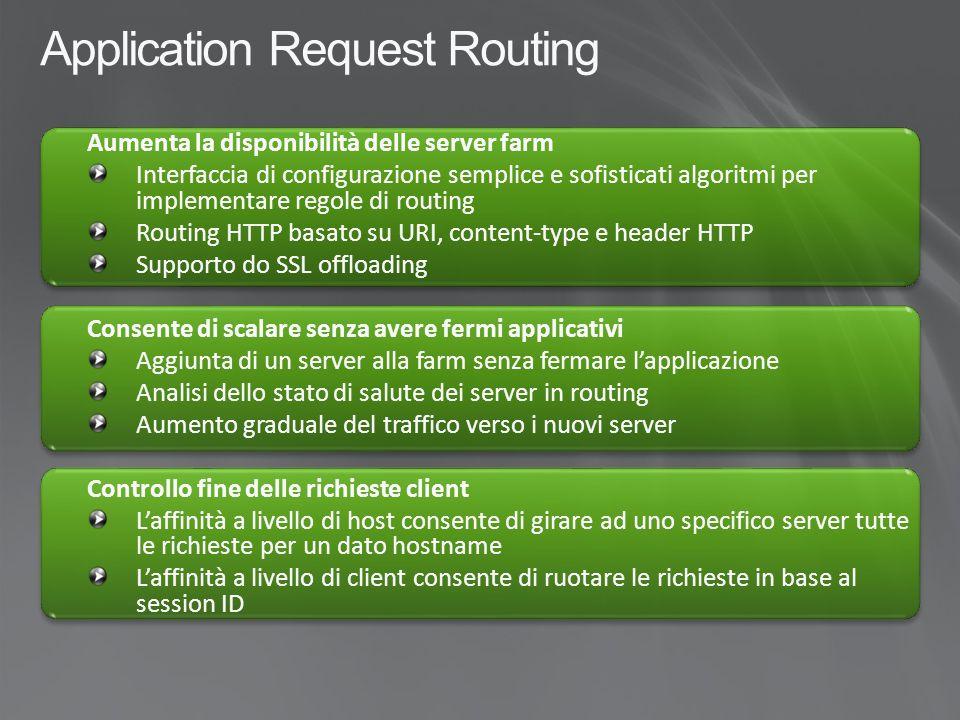 Application Request Routing Load balancer HW IIS + ARR Web Farm – 1 PHP Web Farm – 2 ASP.NET Applicazione ASP.NET Applicazione PHP Shared configuration Shared configuration