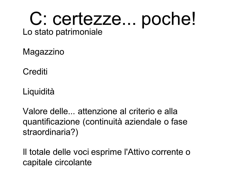 Lo stato patrimoniale Magazzino Crediti Liquidità Valore delle...