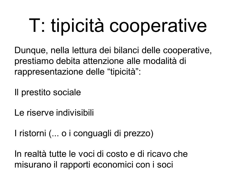 Dunque, nella lettura dei bilanci delle cooperative, prestiamo debita attenzione alle modalità di rappresentazione delle tipicità : Il prestito sociale Le riserve indivisibili I ristorni (...