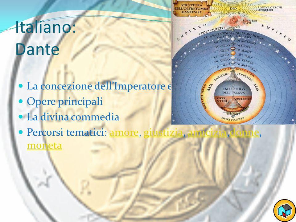 Italiano: Dante La concezione dell'Imperatore e del Papa Opere principali La divina commedia Percorsi tematici: amore, giustizia, amicizia,donne, monetaamoregiustiziaamiciziadonne moneta