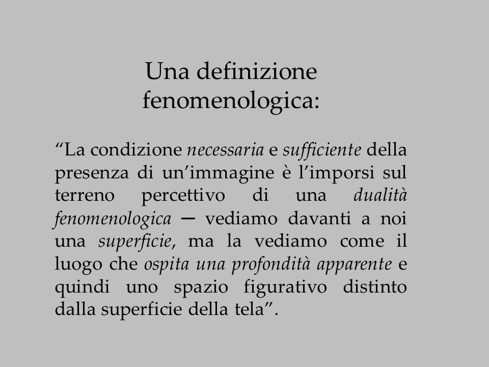 """Una definizione fenomenologica: """"La condizione necessaria e sufficiente della presenza di un'immagine è l'imporsi sul terreno percettivo di una dualit"""