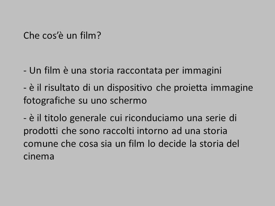 Che cos'è un film? - Un film è una storia raccontata per immagini - è il risultato di un dispositivo che proietta immagine fotografiche su uno schermo