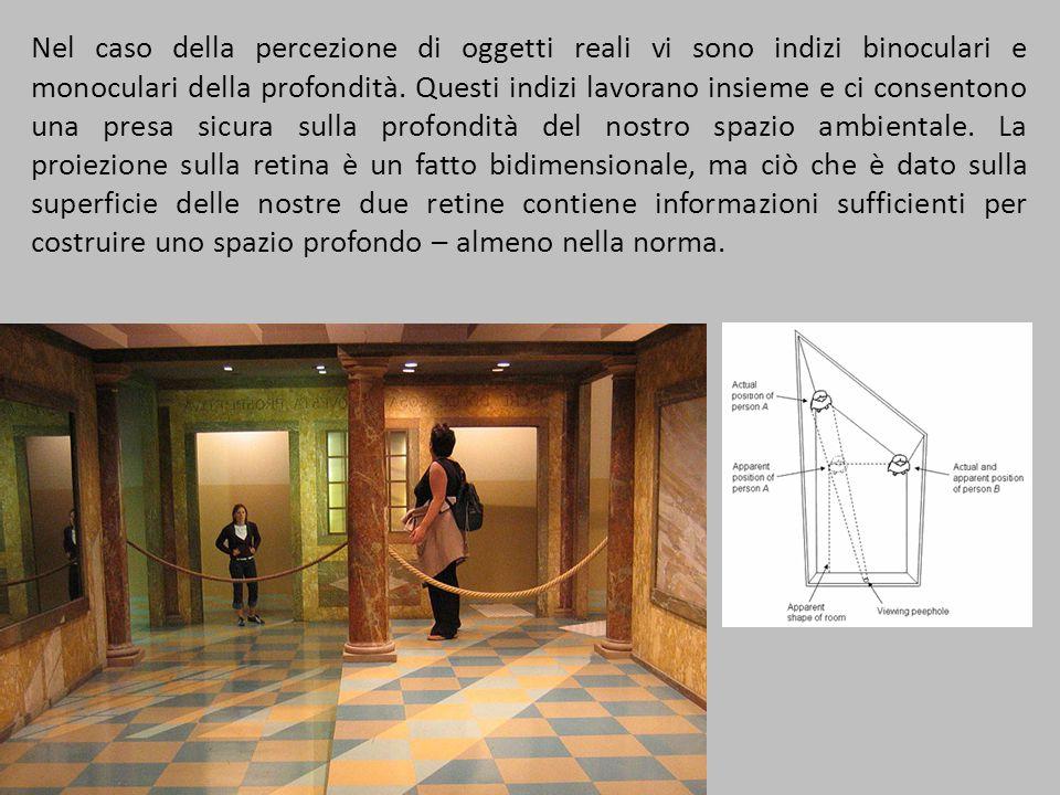 Nel caso della percezione di oggetti reali vi sono indizi binoculari e monoculari della profondità. Questi indizi lavorano insieme e ci consentono una