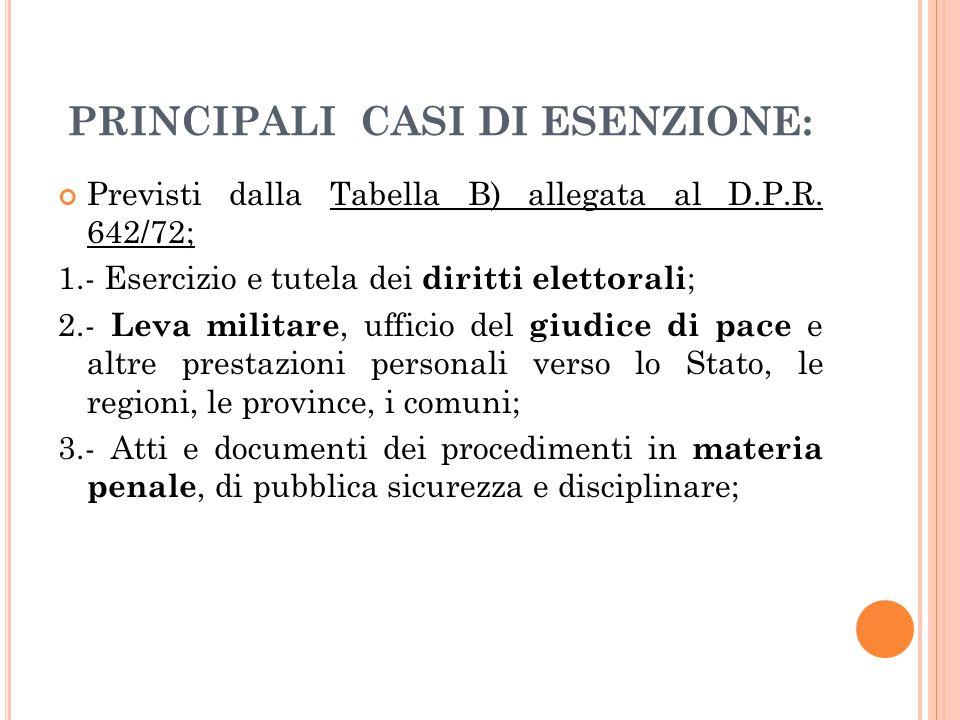 PRINCIPALI CASI DI ESENZIONE: Previsti dalla Tabella B) allegata al D.P.R. 642/72; 1.- Esercizio e tutela dei diritti elettorali ; 2.- Leva militare,