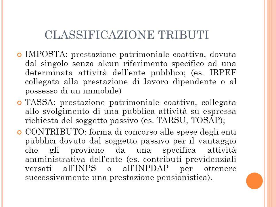 CLASSIFICAZIONE TRIBUTI IMPOSTA: prestazione patrimoniale coattiva, dovuta dal singolo senza alcun riferimento specifico ad una determinata attività d