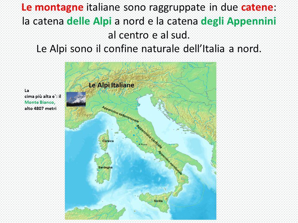 Le montagne italiane sono raggruppate in due catene: la catena delle Alpi a nord e la catena degli Appennini al centro e al sud.