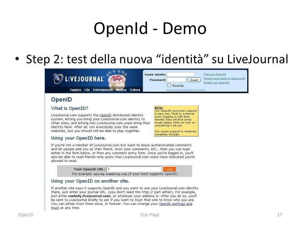 OpenId - Demo Step 2: test della nuova identità su LiveJournal OpenIDEno Pleqi17
