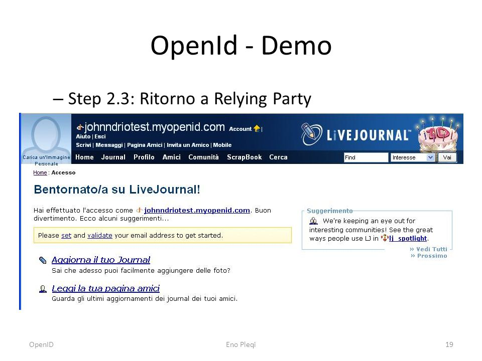OpenId - Demo – Step 2.3: Ritorno a Relying Party OpenIDEno Pleqi19