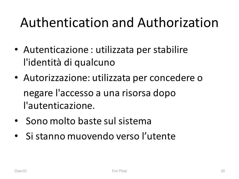 Authentication and Authorization Autenticazione : utilizzata per stabilire l identità di qualcuno Autorizzazione: utilizzata per concedere o negare l accesso a una risorsa dopo l autenticazione.