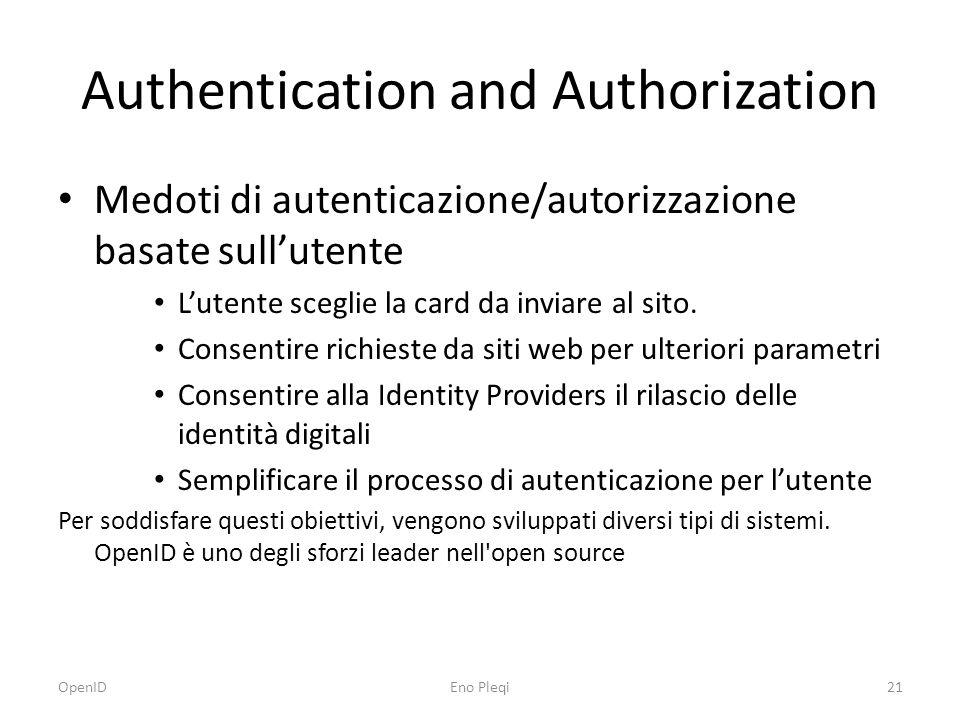 Authentication and Authorization Medoti di autenticazione/autorizzazione basate sull'utente L'utente sceglie la card da inviare al sito.