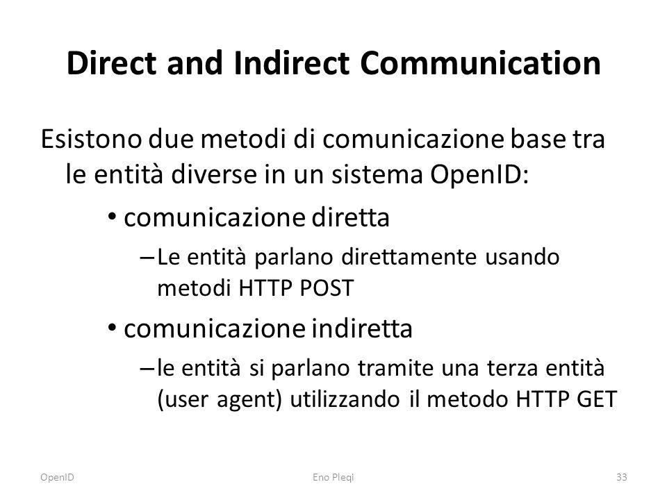 Direct and Indirect Communication Esistono due metodi di comunicazione base tra le entità diverse in un sistema OpenID: comunicazione diretta – Le entità parlano direttamente usando metodi HTTP POST comunicazione indiretta – le entità si parlano tramite una terza entità (user agent) utilizzando il metodo HTTP GET OpenID33Eno Pleqi