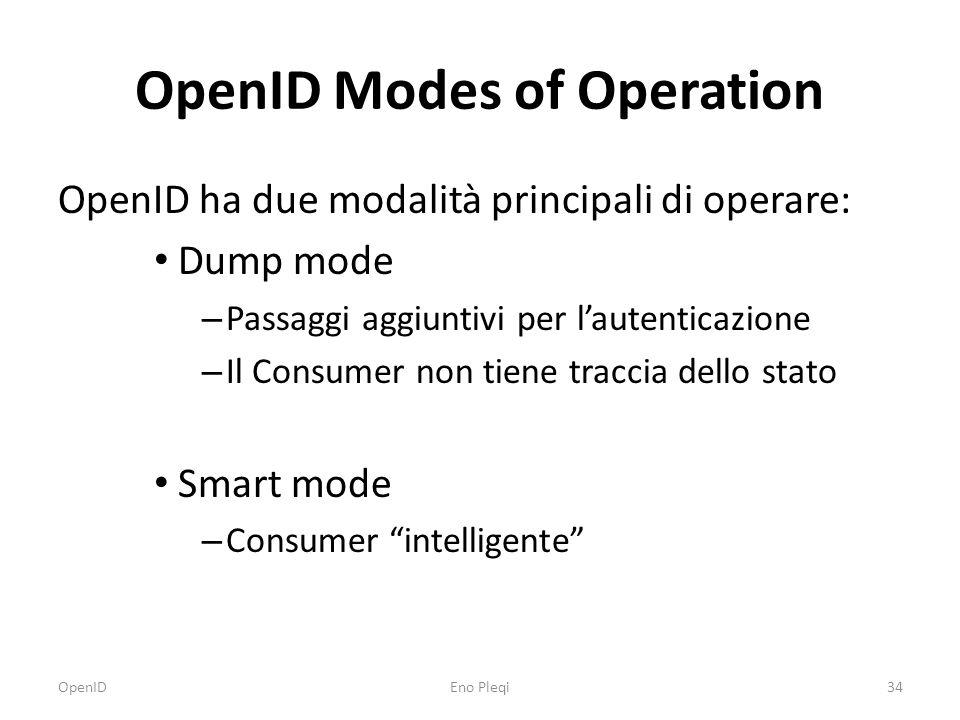OpenID Modes of Operation OpenID ha due modalità principali di operare: Dump mode – Passaggi aggiuntivi per l'autenticazione – Il Consumer non tiene traccia dello stato Smart mode – Consumer intelligente OpenID34Eno Pleqi