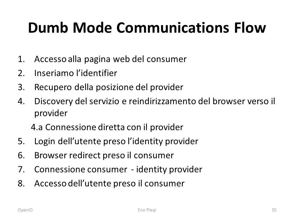 Dumb Mode Communications Flow 1.Accesso alla pagina web del consumer 2.Inseriamo l'identifier 3.Recupero della posizione del provider 4.Discovery del servizio e reindirizzamento del browser verso il provider 4.a Connessione diretta con il provider 5.Login dell'utente preso l'identity provider 6.Browser redirect preso il consumer 7.Connessione consumer - identity provider 8.Accesso dell'utente preso il consumer OpenIDEno Pleqi35
