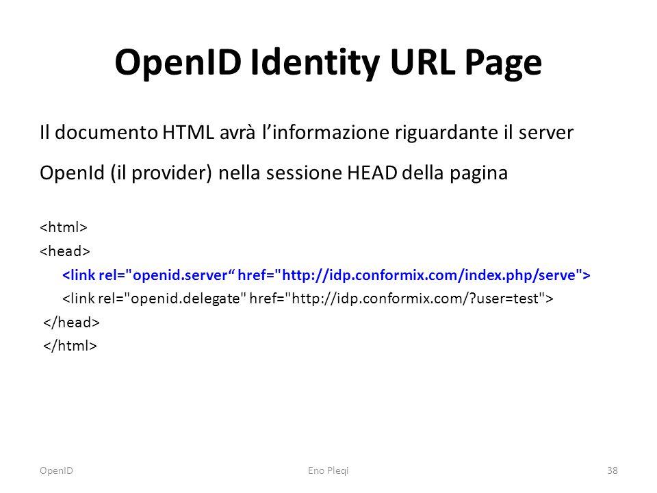 OpenID Identity URL Page OpenIDEno Pleqi38 Il documento HTML avrà l'informazione riguardante il server OpenId (il provider) nella sessione HEAD della pagina