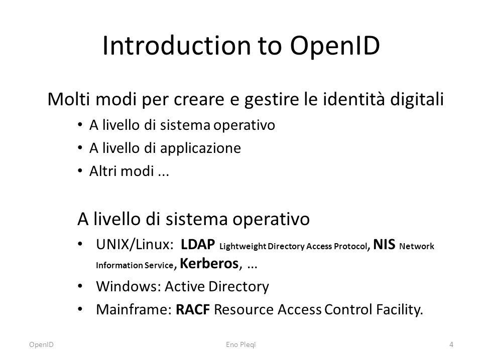 Introduction to OpenID Molti modi per creare e gestire le identità digitali A livello di sistema operativo A livello di applicazione Altri modi...