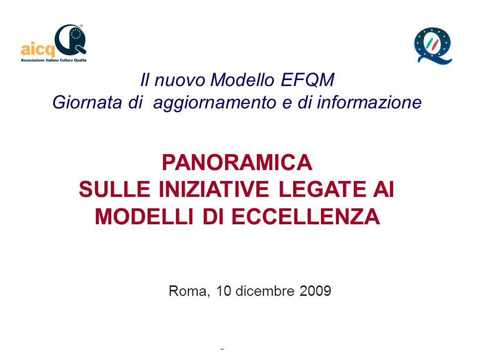1 Iniziative legate ai modelli di eccellenza 10 dicembre 2009 PANORAMICA SULLE INIZIATIVE LEGATE AI MODELLI DI ECCELLENZA Roma, 10 dicembre 2009 Il nuovo Modello EFQM Giornata di aggiornamento e di informazione