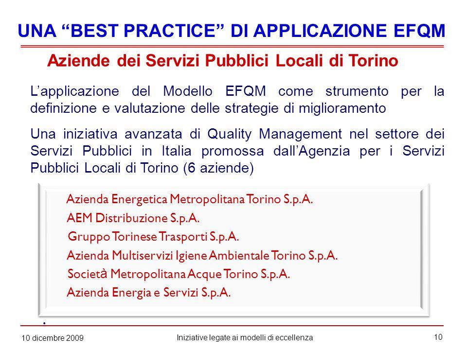 10 Iniziative legate ai modelli di eccellenza 10 dicembre 2009 Azienda Energetica Metropolitana Torino S.p.A.