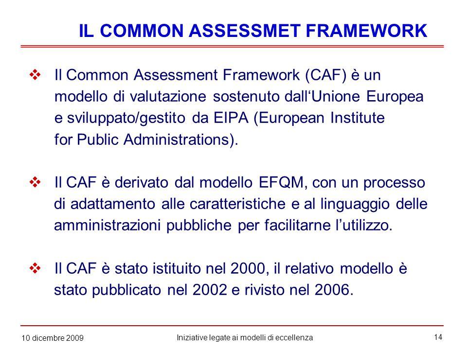 14 Iniziative legate ai modelli di eccellenza 10 dicembre 2009  Il Common Assessment Framework (CAF) è un modello di valutazione sostenuto dall'Unione Europea e sviluppato/gestito da EIPA (European Institute for Public Administrations).
