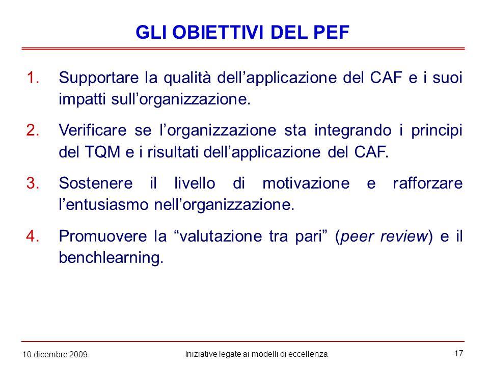 17 Iniziative legate ai modelli di eccellenza 10 dicembre 2009 1.Supportare la qualità dell'applicazione del CAF e i suoi impatti sull'organizzazione.