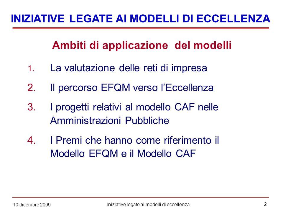 2 Iniziative legate ai modelli di eccellenza 10 dicembre 2009 Ambiti di applicazione del modelli 1.