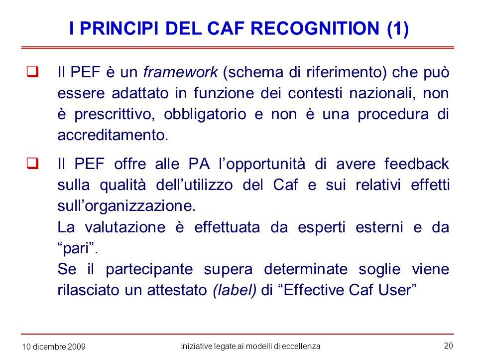 20 Iniziative legate ai modelli di eccellenza 10 dicembre 2009  Il PEF è un framework (schema di riferimento) che può essere adattato in funzione dei contesti nazionali, non è prescrittivo, obbligatorio e non è una procedura di accreditamento.