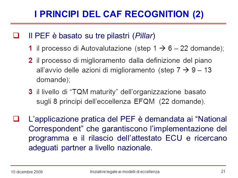 21 Iniziative legate ai modelli di eccellenza 10 dicembre 2009  Il PEF è basato su tre pilastri (Pillar) 1il processo di Autovalutazione (step 1  6 – 22 domande ); 2il processo di miglioramento dalla definizione del piano all'avvio delle azioni di miglioramento (step 7  9 – 13 domande ); 3il livello di TQM maturity dell'organizzazione basato sugli 8 principi dell'eccellenza EFQM (22 domande ).