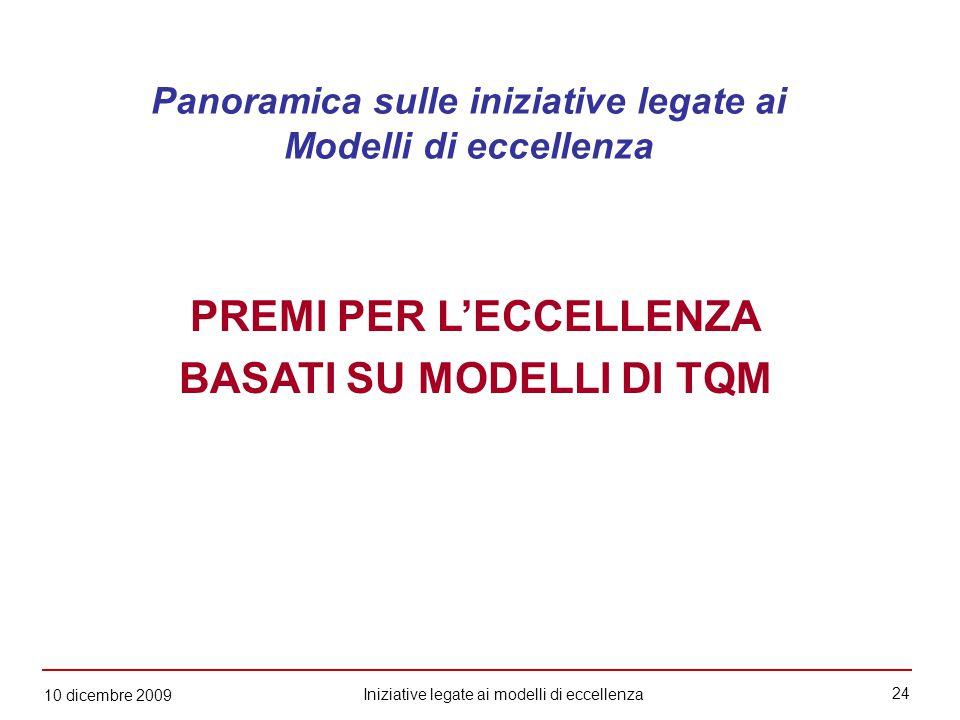 24 Iniziative legate ai modelli di eccellenza 10 dicembre 2009 PREMI PER L'ECCELLENZA BASATI SU MODELLI DI TQM Panoramica sulle iniziative legate ai Modelli di eccellenza
