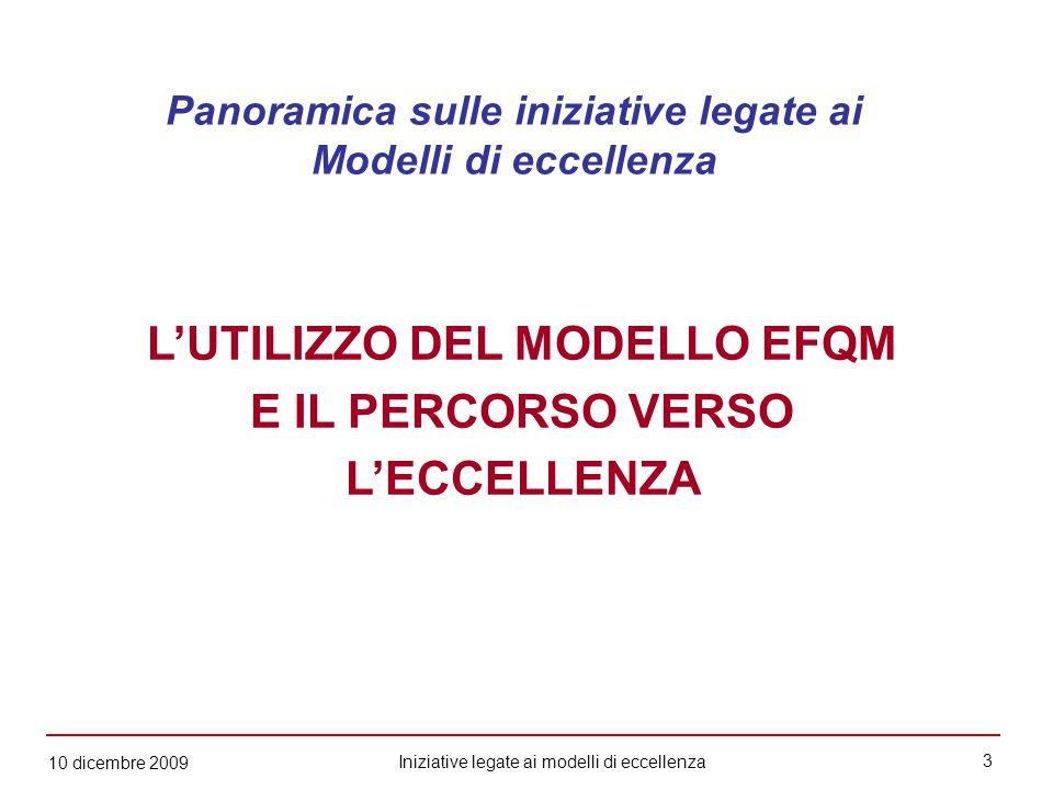 3 Iniziative legate ai modelli di eccellenza 10 dicembre 2009 L'UTILIZZO DEL MODELLO EFQM E IL PERCORSO VERSO L'ECCELLENZA Panoramica sulle iniziative legate ai Modelli di eccellenza
