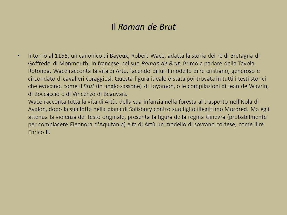 Il Roman de Brut Intorno al 1155, un canonico di Bayeux, Robert Wace, adatta la storia dei re di Bretagna di Goffredo di Monmouth, in francese nel suo