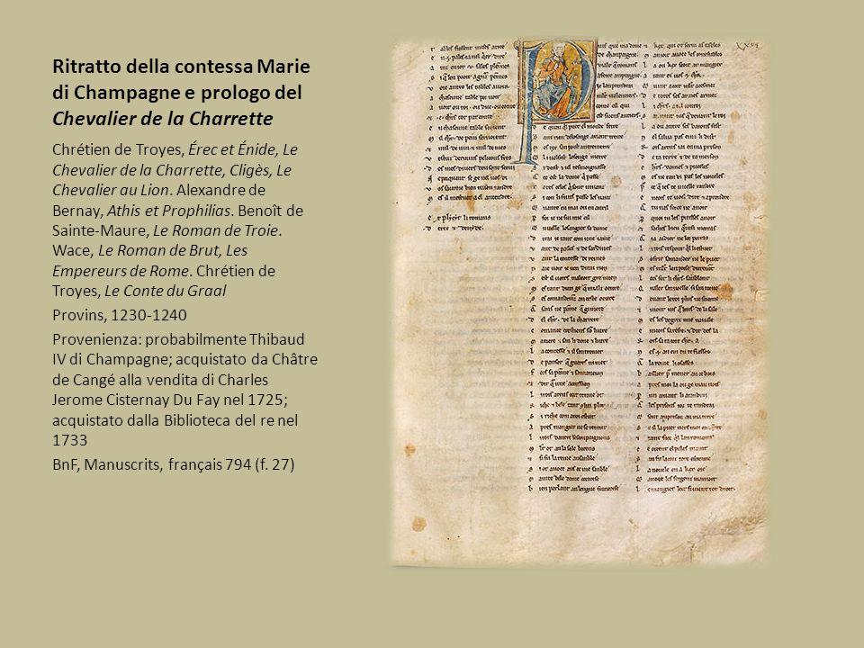 Ritratto della contessa Marie di Champagne e prologo del Chevalier de la Charrette Chrétien de Troyes, Érec et Énide, Le Chevalier de la Charrette, Cl