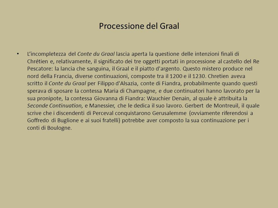 Processione del Graal L'incompletezza del Conte du Graal lascia aperta la questione delle intenzioni finali di Chrétien e, relativamente, il significa