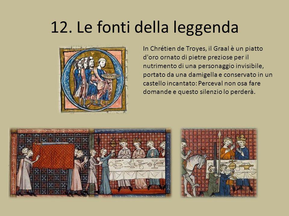 12. Le fonti della leggenda In Chrétien de Troyes, il Graal è un piatto d'oro ornato di pietre preziose per il nutrimento di una personaggio invisibil