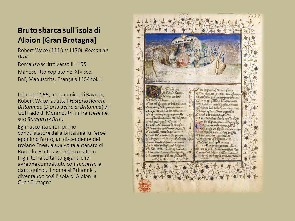 Re Artù combatte contro Frollo, guardiano di Parigi Robert Wace (1110-v.1170), Roman de Brut Romanzo scritto verso il 1155 Manoscritto copiato nel XIV sec.