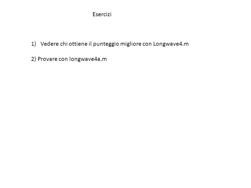 Esercizi 1)Vedere chi ottiene il punteggio migliore con Longwave4.m 2) Provare con longwave4a.m