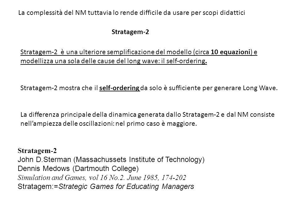 La complessità del NM tuttavia lo rende difficile da usare per scopi didattici Stratagem-2 è una ulteriore semplificazione del modello (circa 10 equaz