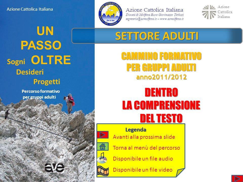 Azione Cattolica Italiana UN PASSO Sogni OLTRE Desideri Progetti Percorso formativo per gruppi adulti Azione Cattolica Italiana SETTORE ADULTI CAMMINO