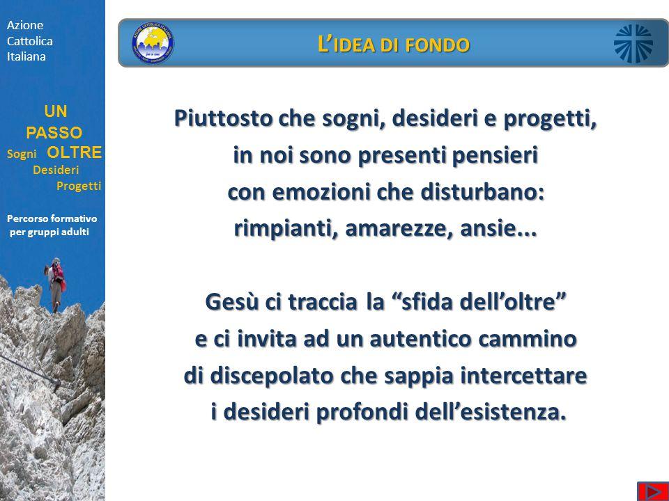 Azione Cattolica Italiana UN PASSO Sogni OLTRE Desideri Progetti Percorso formativo per gruppi adulti L' IDEA DI FONDO Piuttosto che sogni, desideri e