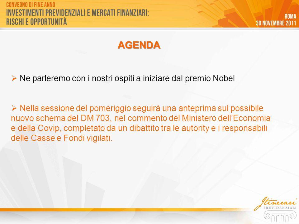  Ne parleremo con i nostri ospiti a iniziare dal premio Nobel  Nella sessione del pomeriggio seguirà una anteprima sul possibile nuovo schema del DM 703, nel commento del Ministero dell'Economia e della Covip, completato da un dibattito tra le autority e i responsabili delle Casse e Fondi vigilati.
