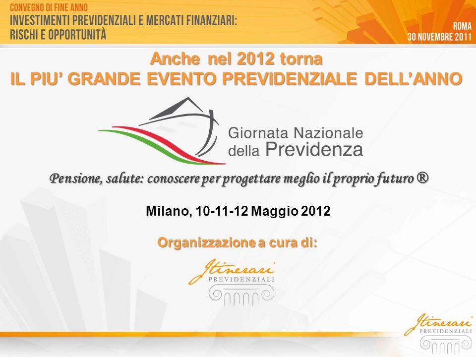 Organizzazione a cura di: Anche nel 2012 torna IL PIU' GRANDE EVENTO PREVIDENZIALE DELL'ANNO Milano, 10-11-12 Maggio 2012 Pensione, salute: conoscere per progettare meglio il proprio futuro ®