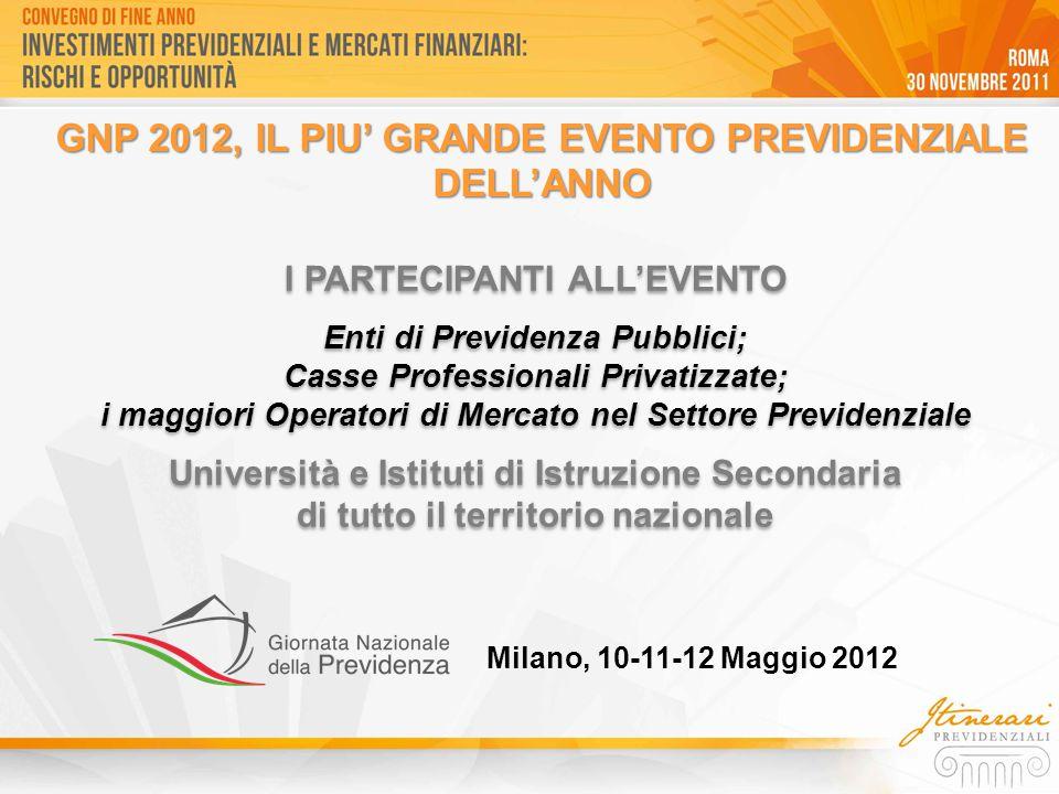 GNP 2012, IL PIU' GRANDE EVENTO PREVIDENZIALE DELL'ANNO I PARTECIPANTI ALL'EVENTO Enti di Previdenza Pubblici; Casse Professionali Privatizzate; i mag
