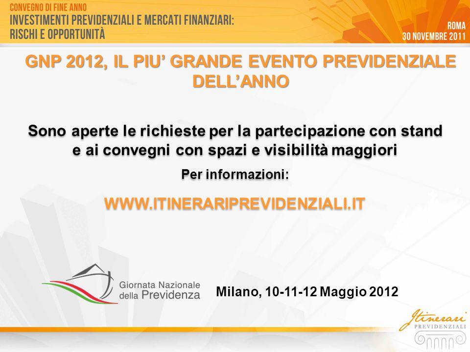 Sono aperte le richieste per la partecipazione con stand e ai convegni con spazi e visibilità maggiori Per informazioni: WWW.ITINERARIPREVIDENZIALI.IT Sono aperte le richieste per la partecipazione con stand e ai convegni con spazi e visibilità maggiori Per informazioni: WWW.ITINERARIPREVIDENZIALI.IT GNP 2012, IL PIU' GRANDE EVENTO PREVIDENZIALE DELL'ANNO Milano, 10-11-12 Maggio 2012