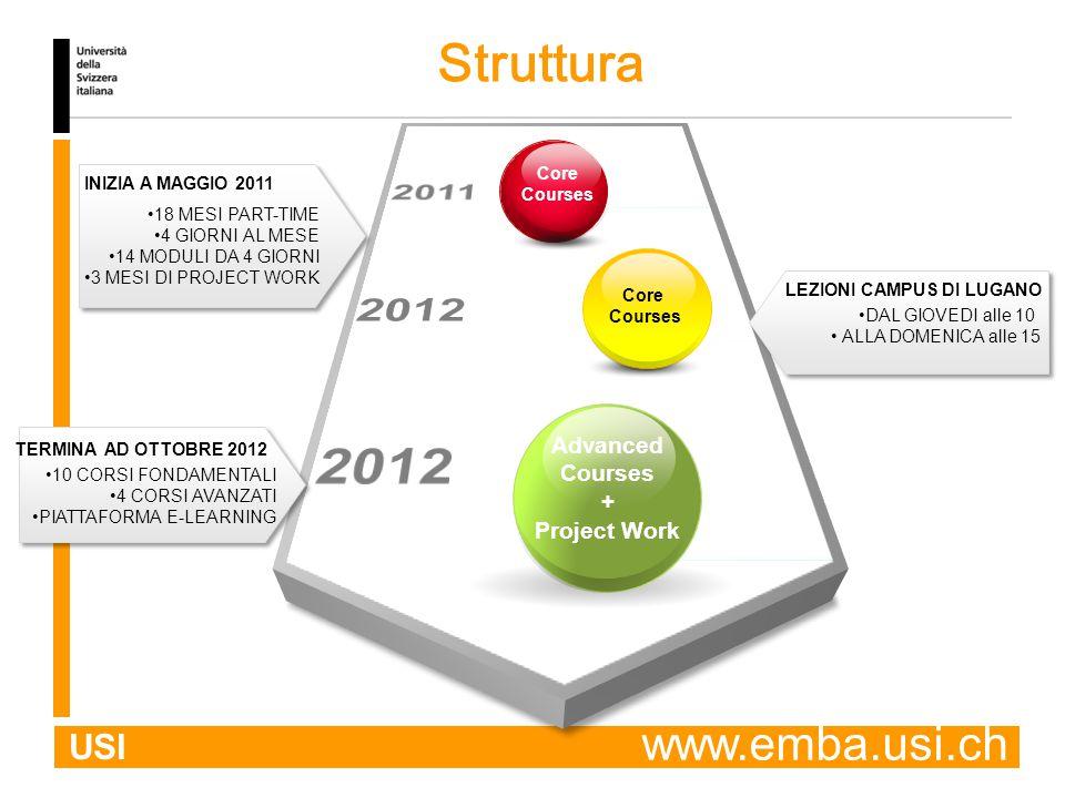 USI Core Courses Core Courses Advanced Courses + Project Work INIZIA A MAGGIO 2011 TERMINA AD OTTOBRE 2012 18 MESI PART-TIME 4 GIORNI AL MESE 14 MODULI DA 4 GIORNI 3 MESI DI PROJECT WORK LEZIONI CAMPUS DI LUGANO DAL GIOVEDI alle 10 ALLA DOMENICA alle 15 Struttura 10 CORSI FONDAMENTALI 4 CORSI AVANZATI PIATTAFORMA E-LEARNING www.emba.usi.ch