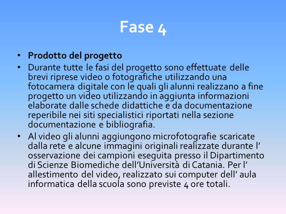 Fase 4 Prodotto del progetto Durante tutte le fasi del progetto sono effettuate delle brevi riprese video o fotografiche utilizzando una fotocamera di