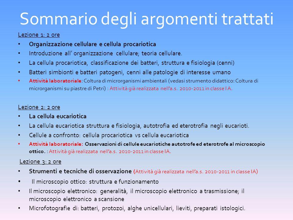 Sommario degli argomenti trattati Lezione 1: 2 ore Organizzazione cellulare e cellula procariotica Introduzione all' organizzazione cellulare; teoria