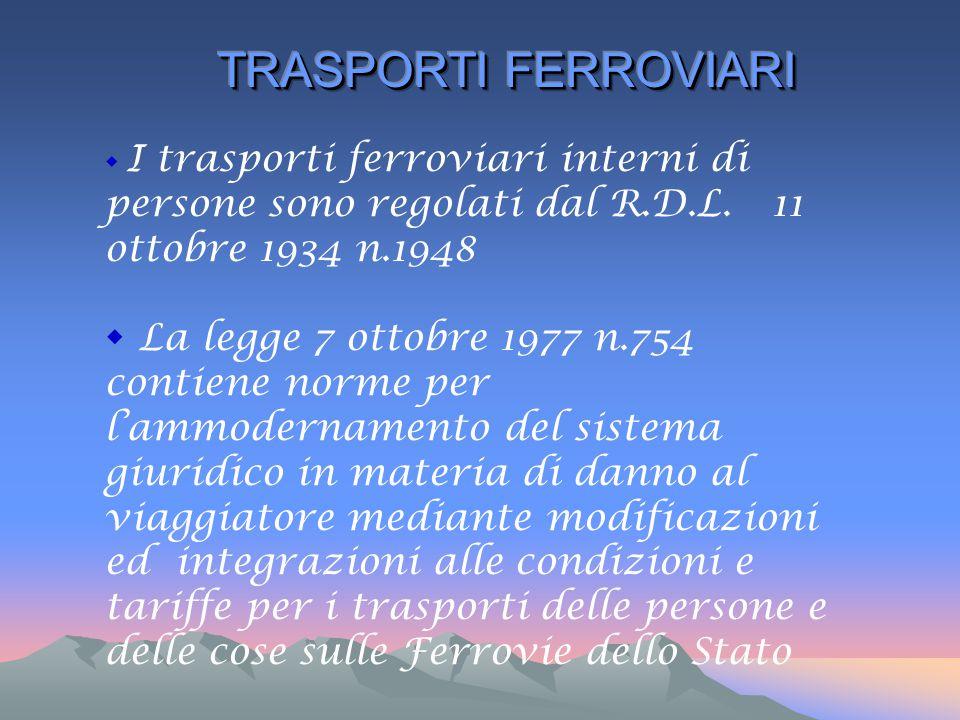  I trasporti ferroviari interni di persone sono regolati dal R.D.L. 11 ottobre 1934 n.1948  La legge 7 ottobre 1977 n.754 contiene norme per l'ammod