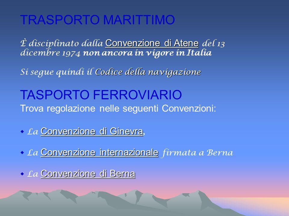 TRASPORTO MARITTIMO Convenzione di Atene È disciplinato dalla Convenzione di Atene del 13 dicembre 1974 non ancora in vigore in Italia Codice della na