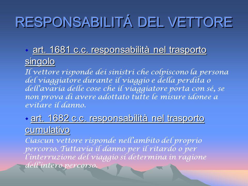 art. 1681 c.c. responsabilità nel trasporto singolo  art. 1681 c.c. responsabilità nel trasporto singolo Il vettore risponde dei sinistri che colpisc